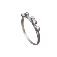 Silver ball cluster ring on a simple thin band