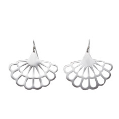 Silver floral fan drop earrings (various designs)