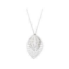 Handmade layered leaf silver necklace with seed design (various sizes)