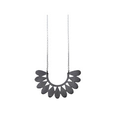 Silver floral motif necklace in black