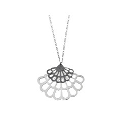 Handmade silver floral fan necklace