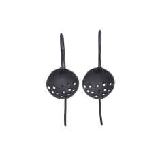 Handmade black domed disc earrings with dot pattern