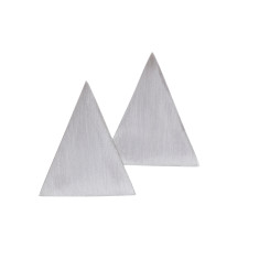 Contemporary triangle stud earrings in silver or black
