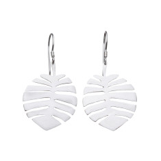 Tropical silver leaf drop earrings (various sizes)
