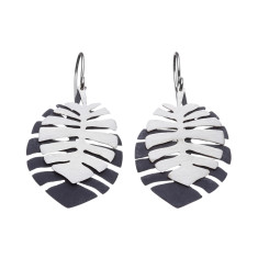 Tropical silver leaf drop earrings (design variations)