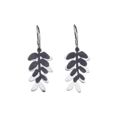 Silver layered leaf drop earrings (various designs)