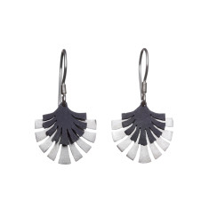 Silver tropical fan drop earrings (various designs)