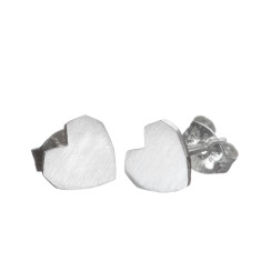 Handmade siver heart stud earrings