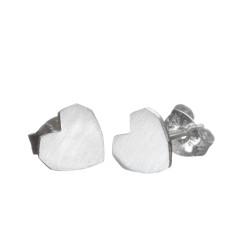 Handmade siver heart stud earrings