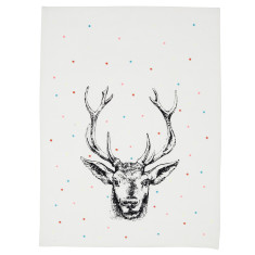 Christmas deer tea towel with dots
