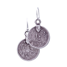 Turkish coin and sterling silver earrings