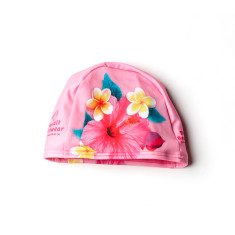 Girls' tropical floral swim cap