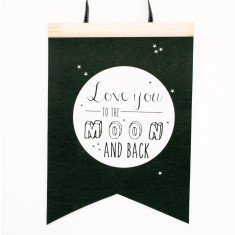 Love you to the moon felt flag