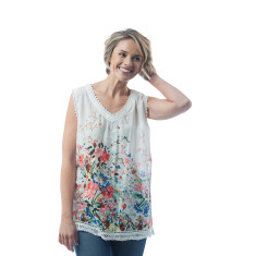 Lita top - Floral, Sky blue, Lucite green