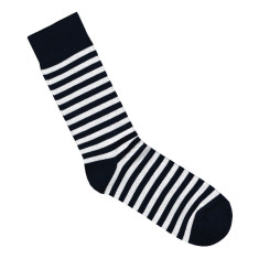 Lafitte navy and white striped bamboo socks