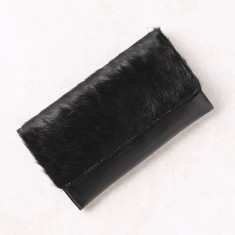 Extra large foldover wallet in black calfhair