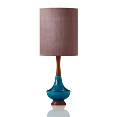 Electra small table lamp in raw silk pink onyx