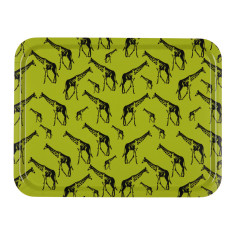 Giraffe parade large wooden serving tray