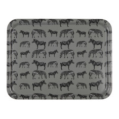 Zebra march large wooden serving tray