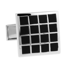 Black and silver grid cufflinks