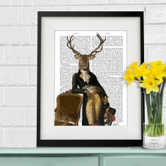 Deer and chair antiquarian book art print