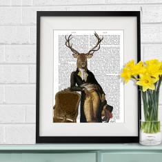 Deer and chair antiquarian book art print