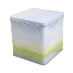 Storage tin in fading blue