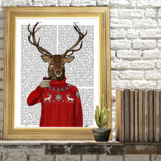 Deer in ski sweater book print