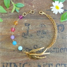 Viva gold swallow and Swarovski crystal bracelet