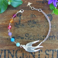 Viva silver swallow and Swarovski crystal bracelet