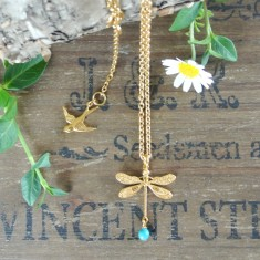 Dolores gold dragonfly and semiprecious stone necklace