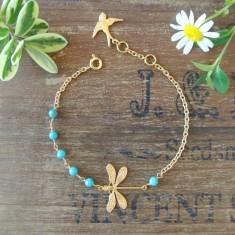 Darlene gold dragonfly and semiprecious stone bracelet