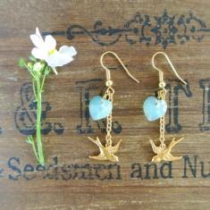 Bebe gold swallow and Swarovski crystal earrings