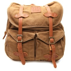 Khaki brown canvas army vintage backpack