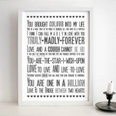 Love sayings print