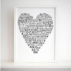 London typographic heart print (various designs)
