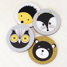 Forest animals coasters (set of 4)