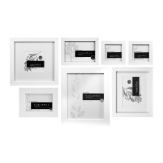 White slim box wall of frames