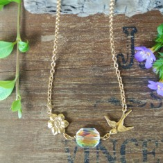 Lucille gold small swallow and Swarovski crystal necklace
