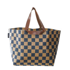 Check Print Beach Bag