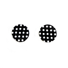 Wood and sterling silver earrings in polka dot