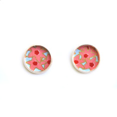 Rose gold chiyogami studs in starflower