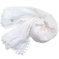 Chalk silk and cotton pom pom dupatta scarf