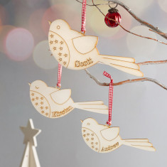 Wooden robin family personalised Christmas decoration