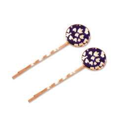 Large rose gold chiyogami bobby pins in velvet stardust