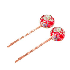 Large rose gold chiyogami bobby pins in field