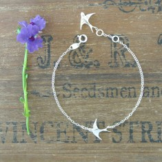 Birdie sterling silver swallow bracelet