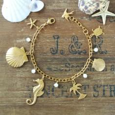 Beach babe gold charm bracelet