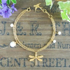 Desiree gold dragonfly and semiprecious bracelet
