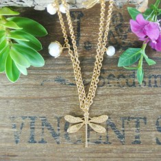 Destiny gold dragonfly and semiprecious stone necklace
